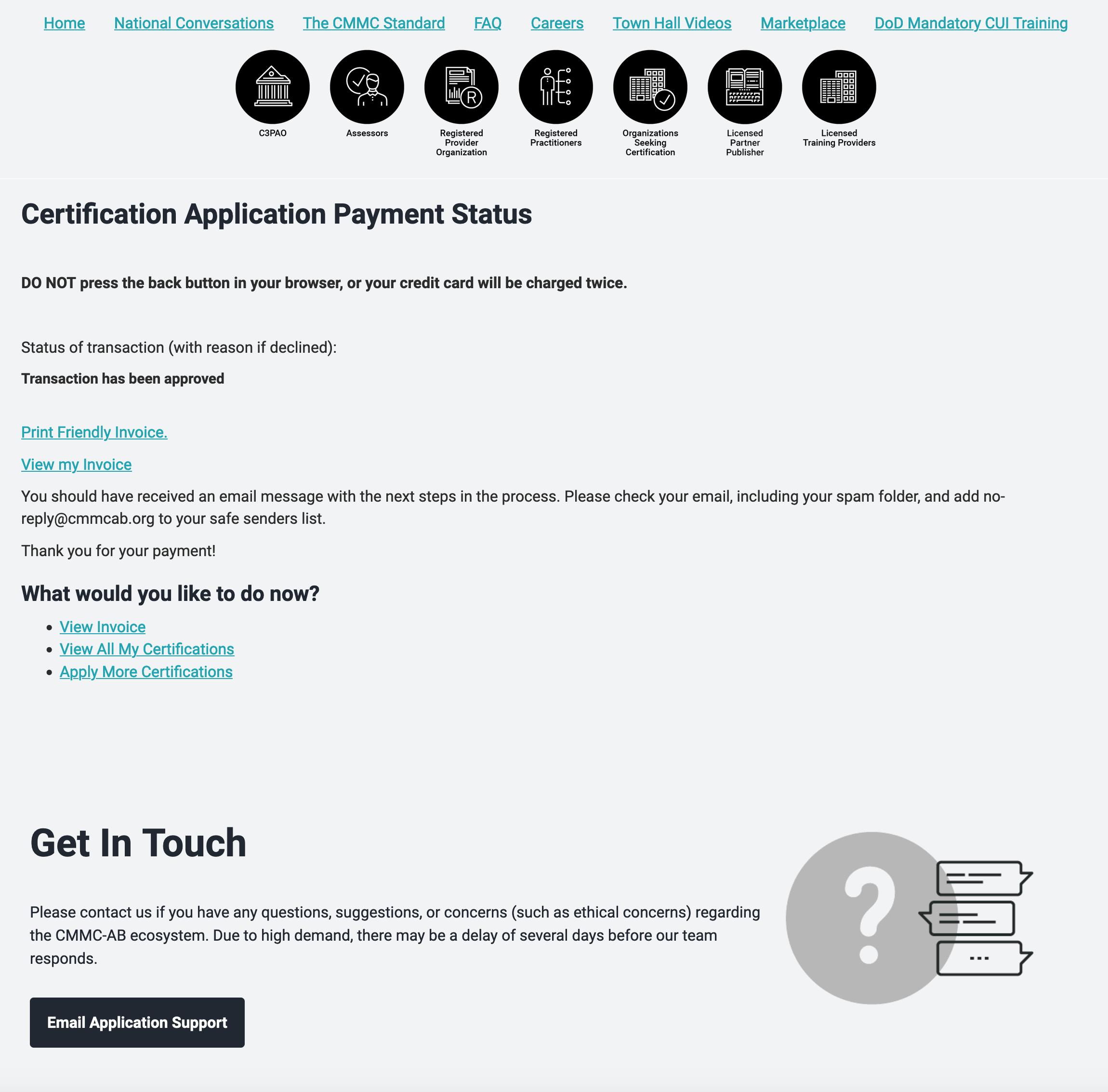 screenshot of payment acceptance