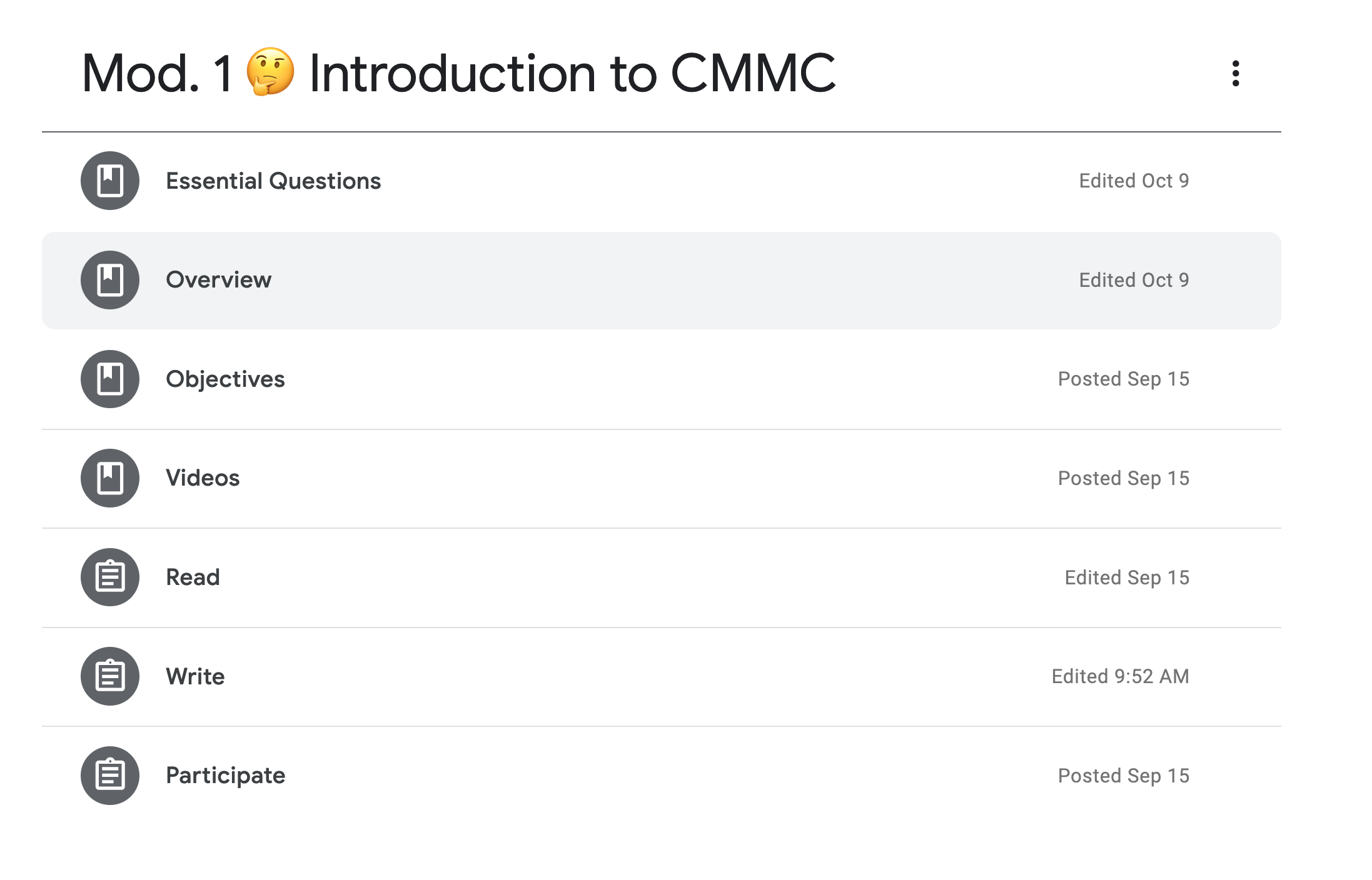 screenshot of Google Classroom